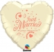 F3.1 - Folienballon Just Married ivory mit coral Schrift