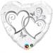 F15 - Folienballon Verschlungene Herzen silber