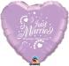 F4 - Folienballon Just Married flieder mit weißer Schrift