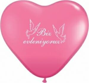 Ballon zur Hochzeit - Biz evleniyoruz Pink - mit weißen Tauben und Aufschrift
