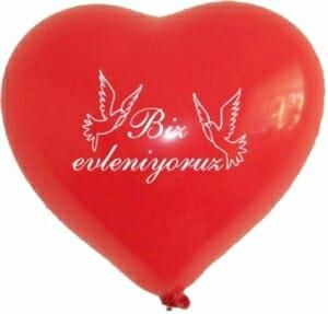 Ballon zur Hochzeit - Biz evleniyoruz Rot - mit weißen Tauben und Aufschrift
