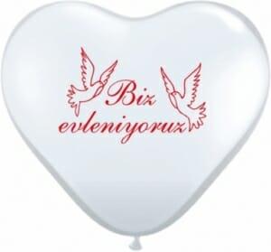Ballon zur Hochzeit - Biz evleniyoruz Weiß - mit roten Tauben und Aufschrift