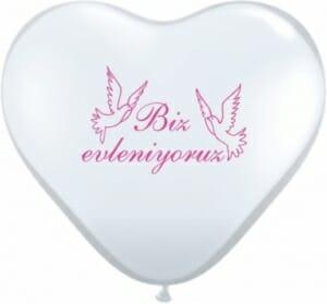 Ballon zur Hochzeit - Biz evleniyoruz Weiß - mit pinken Tauben und Aufschrift